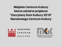 """Więcej o: Miejskie Centrum Kultury bierze udział w projekcie """"Zaczytany Dom Kultury 2018"""" Narodowego Centrum Kultury."""