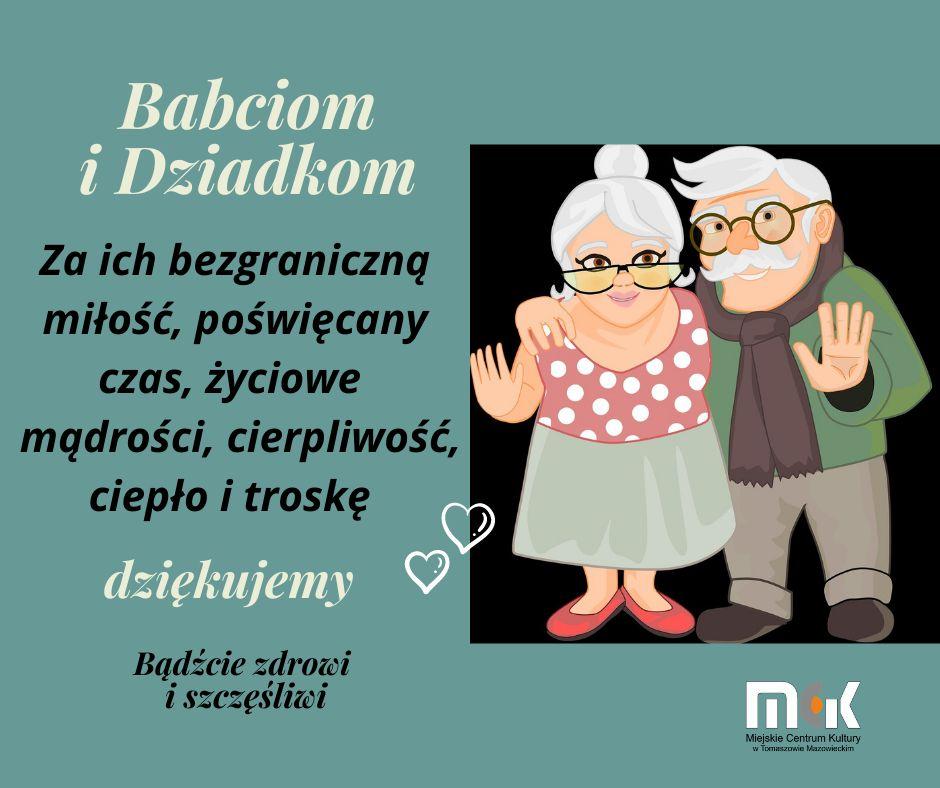 Kartka z życzeniami z okazji Dnia Babci i Dnia Dziadka. Po prawej stronie postaci babci i dziadka, po lewej tekst życzeń