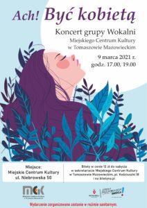 plakat przedstawia postac kobiety wyłaniającą się spośród kwiatów