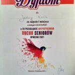 Dyplom dla Jadwigi Kocik za zajęcie pierwszego miejsca w kategorii solistów w III Przeglądzie Ruchu Artystycznego seniorów w Opocznie 2021.