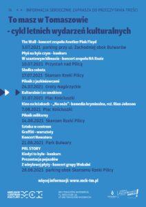 """Plakat z tytułami i terminami wydarzeń w ramach cyklu """"To masz w Tomaszowie"""""""